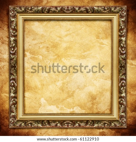 Frame on brown wall - stock photo