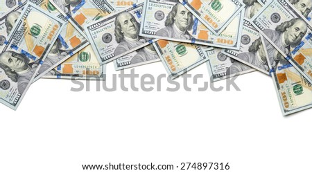 frame on one side with  dollar bills - stock photo