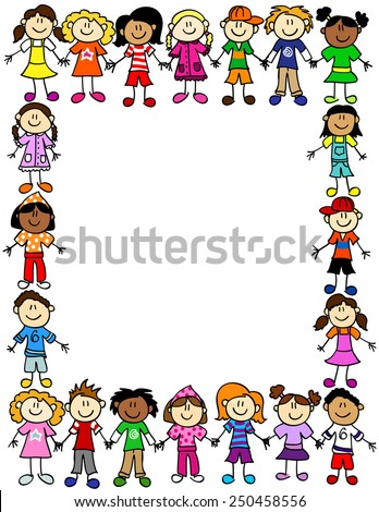 Frame or page border of cute kid cartoon characters holding hands - stock photo