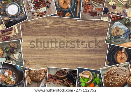 Frame photos of a retro food photos on a wooden table - stock photo