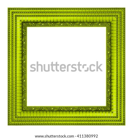 frame picture frame wooden gold Carved pattern isolated on a white background. - stock photo