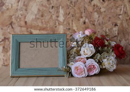 Frame roses for Valentine's Day - stock photo