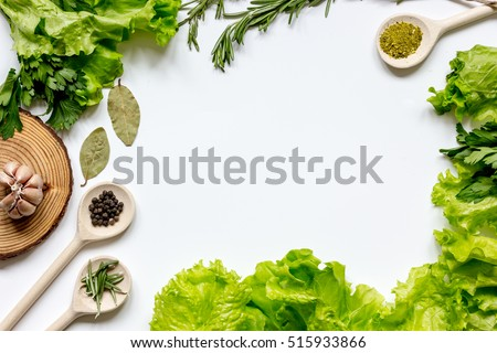 Table Top View spices wooden bowl white background top stock photo 541472572