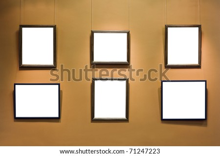 frame with a blank background on a yellow wall