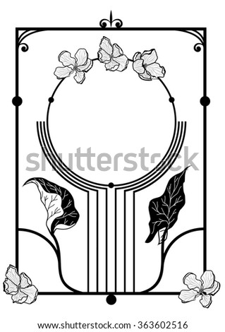 frame with apple flowers  in black and white colors - stock photo