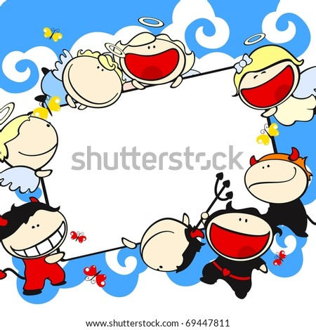 Frame with baby angels and devils (raster version) - stock photo