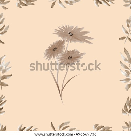 Frame with beige foliage and beige wild flowers a beige background. Watercolor seamless pattern.