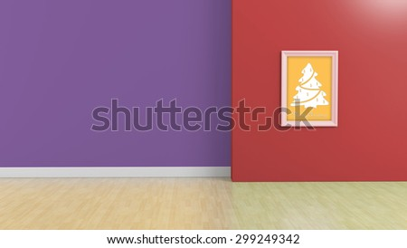 frame with christmas tree on colorful wall, festival concept - stock photo