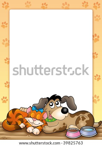 Frame with cute cat and dog - color illustration. - stock photo