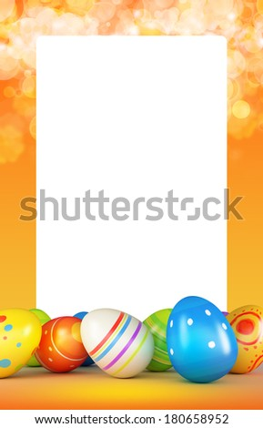 Frame with easter eggs (computer generated images) - stock photo