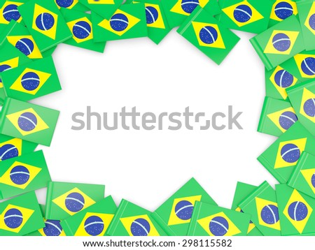 Frame with flag of brazil isolated on white - stock photo