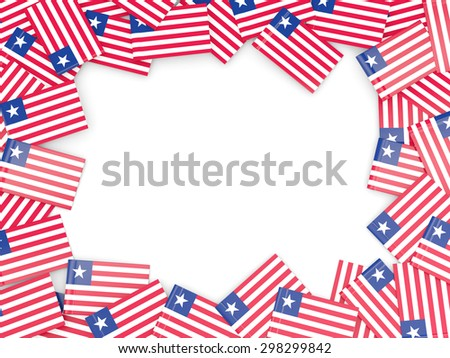 Frame with flag of liberia isolated on white