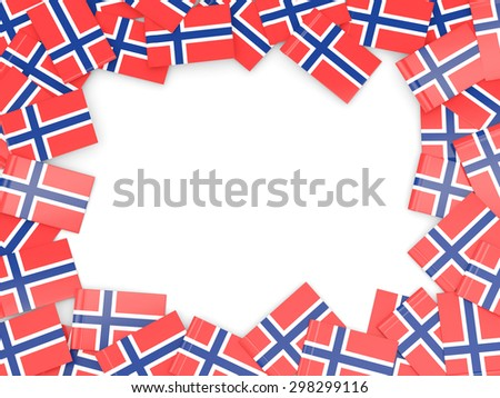 Frame with flag of norway isolated on white - stock photo