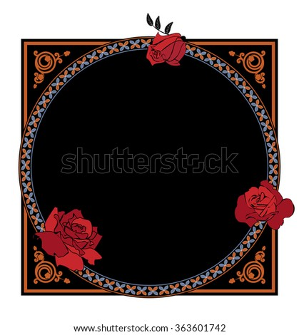 frame with flowers of roses and ornamental borders - stock photo