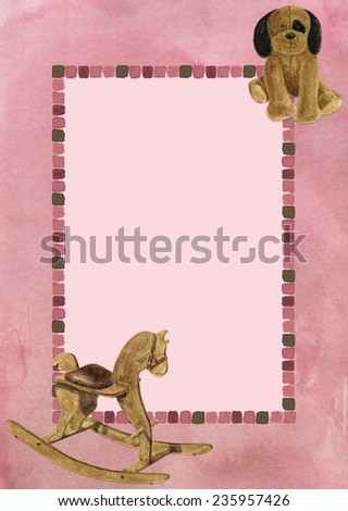 frame with hand-drawn watercolor toys for photo or text - stock photo