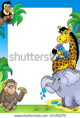Frame with happy African animals - color illustration. - stock photo