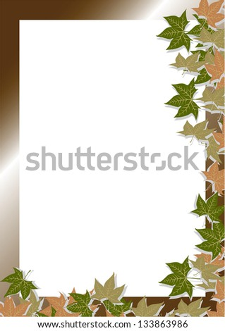 Frame with leaf tree in different colors