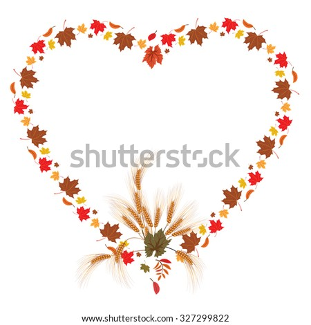 frame with leaves of maple and ears as heart - stock photo