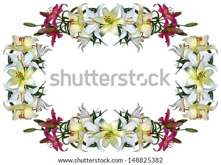 Frame with lilies. Beautiful floral border(Variant 3).