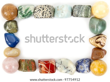 frame with mineral stones on a white background