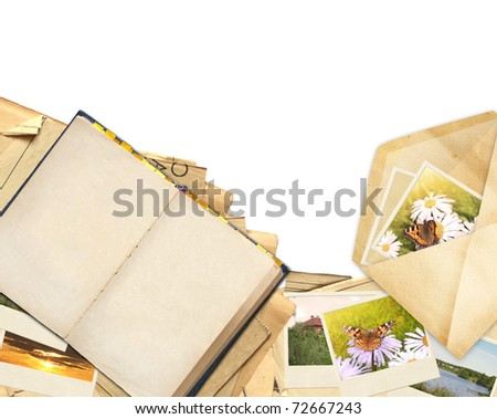 Frame with old paper and photos. Objects isolated over white - stock photo