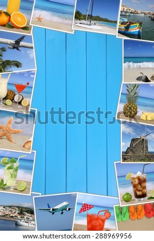 Frame with photos from summer vacation, sun, beach, holiday, drinks and sea - stock photo
