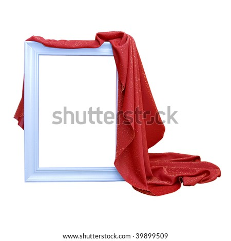 Frame with red curtain,isolated