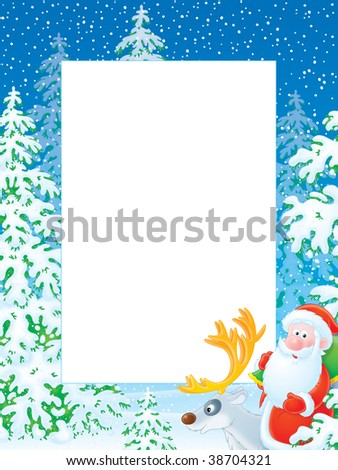 frame with Santa Claus on a reindeer in a winter forest