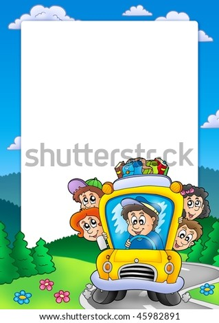 Frame with school bus - color illustration. - stock photo