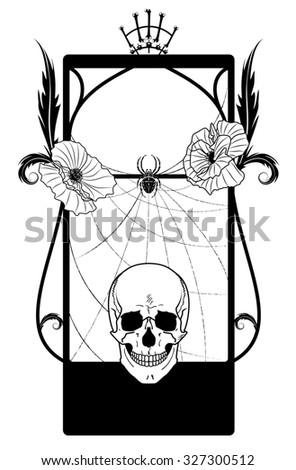 frame with skull and poppies in black and white colors - stock photo
