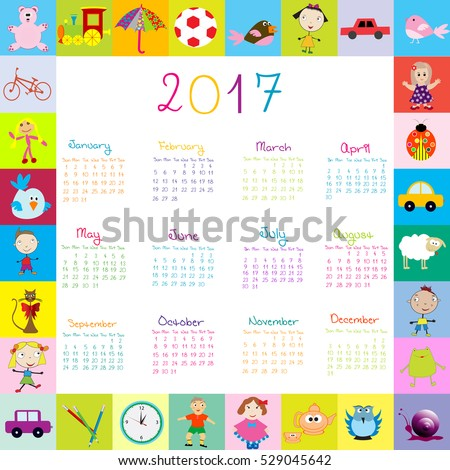 Frame with toys 2017 calendar for kids