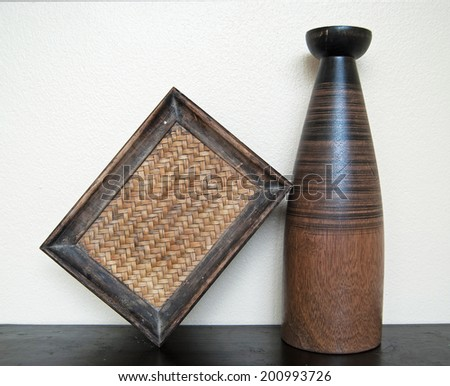 frame with vintage wood vase  - stock photo