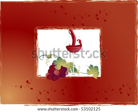 Frame with wineglass and bunch of grapes - stock photo