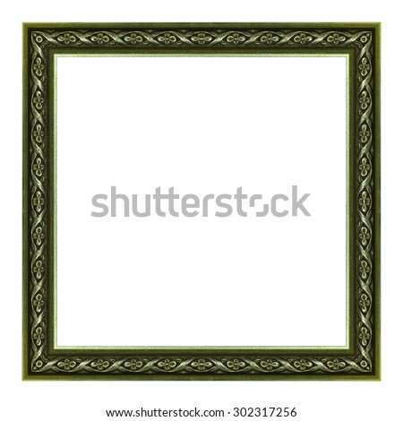Frame wooden Antique Carved pattern isolated on a white background. - stock photo
