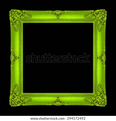 frame wooden gold picture frame Old isolated on a black background. - stock photo