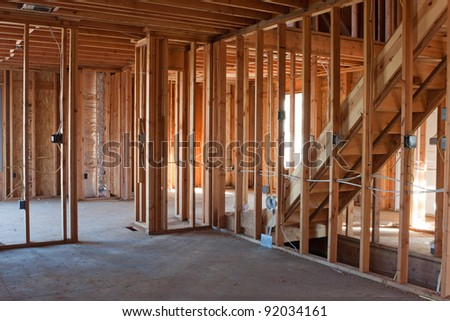 Framed building or residential home with basic electrical wiring and hvac complete. - stock photo