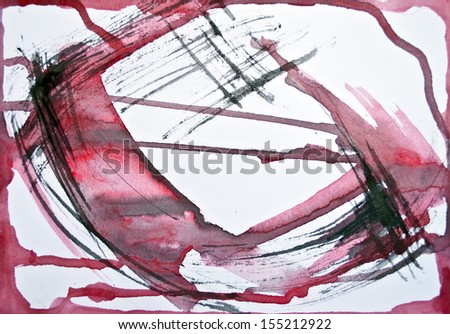 Framed watercolor red background - stock photo