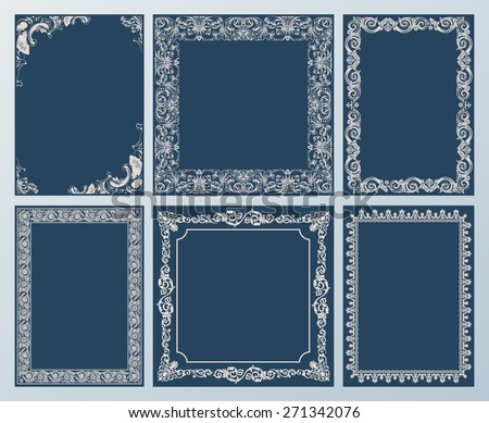 frames elegant set. Ornament and vintage scroll elements black - stock photo