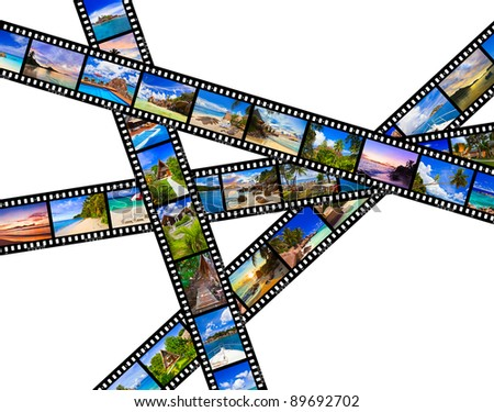Frames of film - nature and travel (my photos) isolated on white background