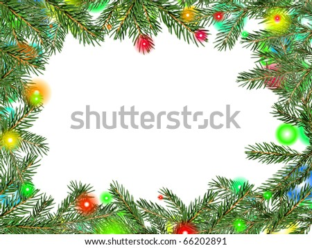 Framework from fur-tree branches - stock photo