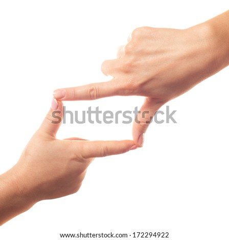 Framing human hands - stock photo