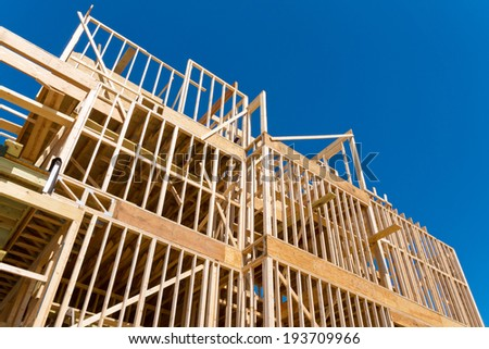 Framing of new home construction  - stock photo