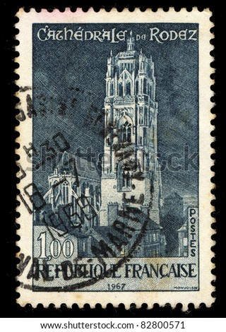 FRANCE - 1968: A stamp printed in France shows Cathedrale de Rodez (Rodez Cathedral), circa, 1968
