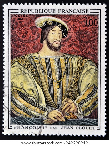 FRANCE - 1967: A stamp printed in France shows image of French Art, Francois I (after Jean Clouet), circa 1967  - stock photo