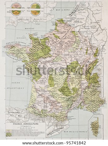 France agriculture old map. By Paul Vidal de Lablache, Atlas Classique, Librerie Colin, Paris, 1894 - stock photo
