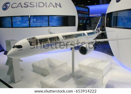 France. Air Show Le Bourget 2011. 26 June 2011. Presentation of models of aircraft, the Airbus 350.