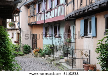 France, Alsace, colored house in Eguisheim