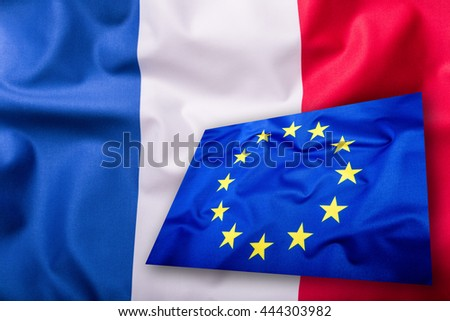 France and  European union Flag blowing in the wind.