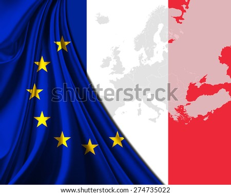 France and European Union Flag with Europe map background - stock photo