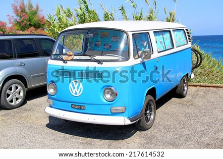 FRANCE - AUGUST 3, 2014: German classic van Volkswagen Transporter at the sea coast in the French Riviera. - stock photo